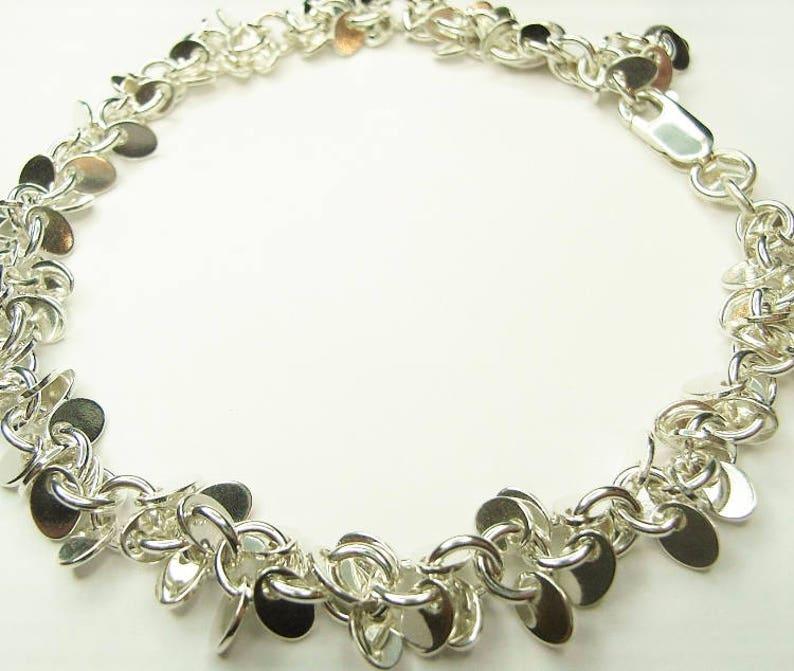 Solid Silver Petal Bracelet image 0