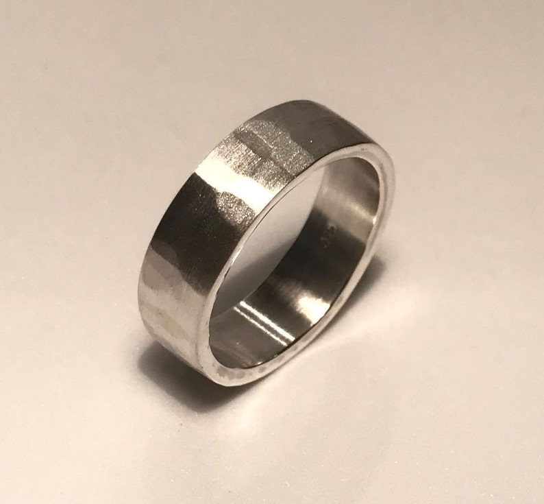 Hammered Texture Solid Silver Ring image 0