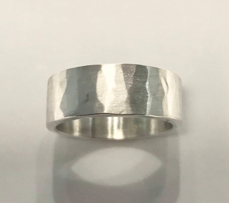 Wide Hammered Texture Solid Silver Ring image 0