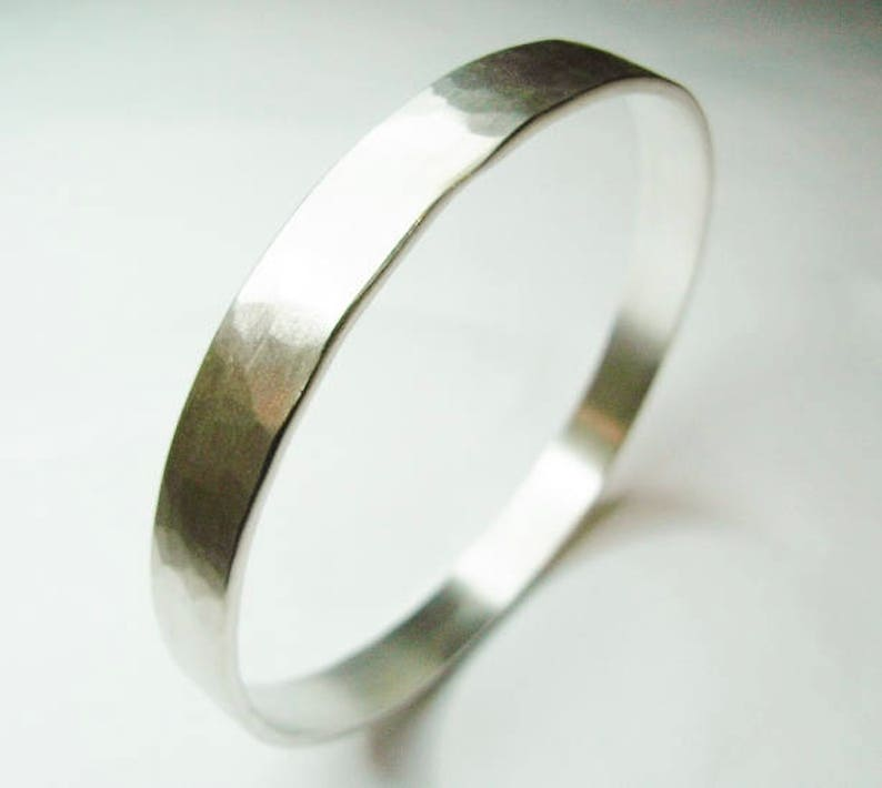 Solid Silver Bangle With Matt Hammered Finish image 0