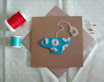 Handmade kraft felt & fabric Teacup card