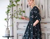 Linen dress Cherry blossoms Loose dress with pockets Handmade floral print Softened not perfect linen