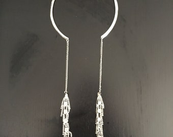 Wear 2 ways silver necklace choker with hanging silver tassels