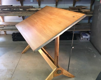Vintage Mayline 1950s Wood Drafting Table Oak Trestles Adjustable Large  Architectual Drawing