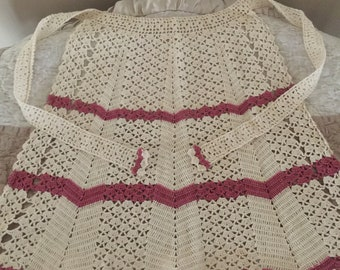 Vintage Hand Crocheted Ivory and Pink Apron