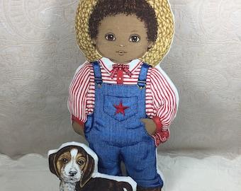 Amos and Spot Doll and Dog Cranston Panel Dolls