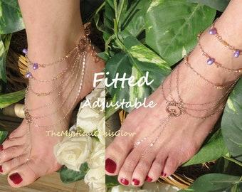 9805c3ec1f5d1 Sparklefoot Barefoot Sandals Rhinestone Jewelry Foot Chain   Etsy