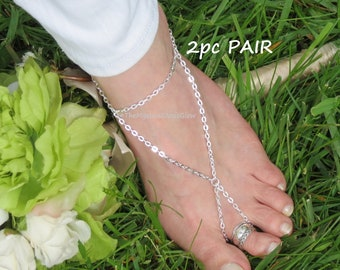a8d4e88704a56 Silver feather barefoot sandals dream catcher anklets slave | Etsy
