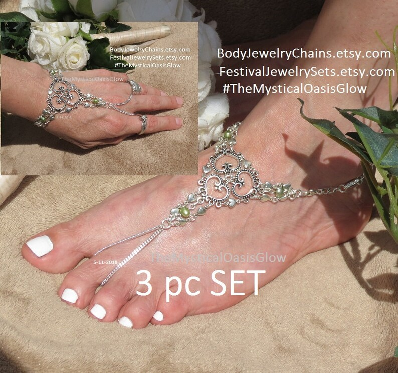 847701d44ed3e Body jewelry sets, wedding jewelry 3pc SET, Beach Wedding Barefoot Sandals,  foot chain jewelry, Heart slave bracelet, Heart hand chain ring