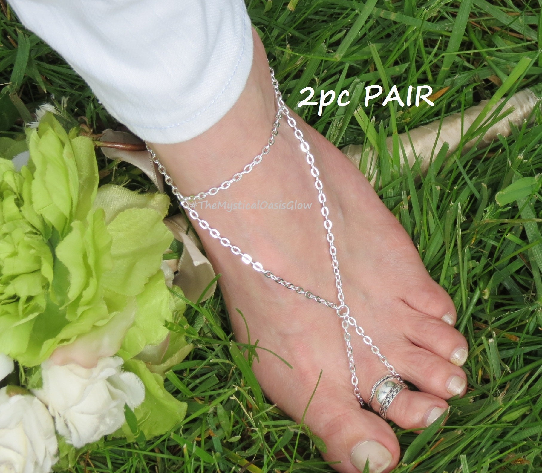 891e09717215b Silver Triangle barefoot sandals for women, beach wedding sandals foot  jewelry slave anklets, toe ring to anklet Gold Bronze Stainless Steel