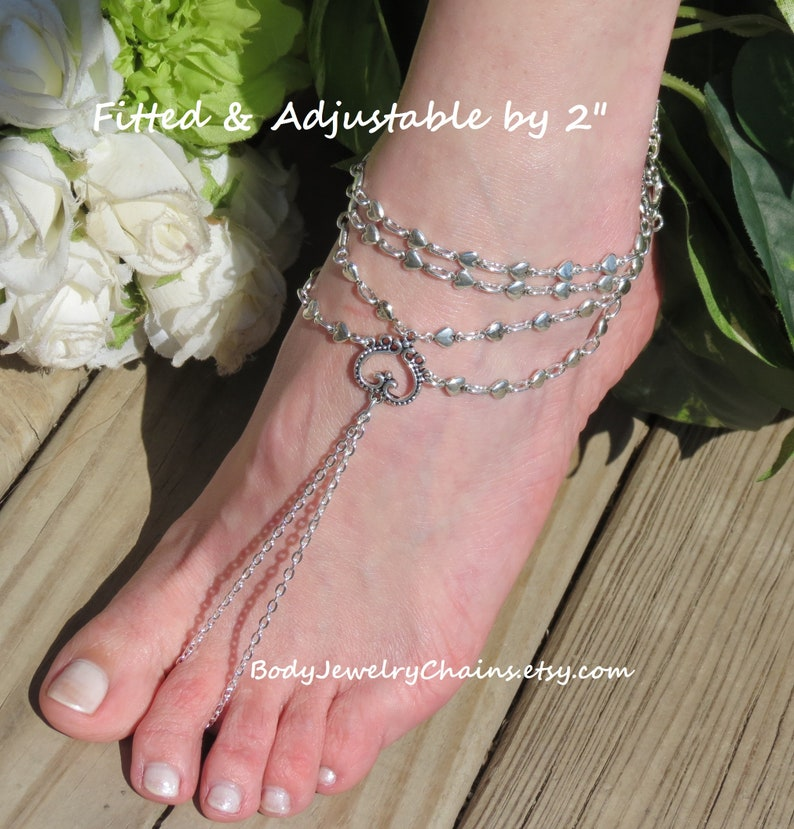 dbf099947e48d Heart barefoot slave anklet bracelet sandals, barefoot sandal wedding foot  jewelry, Nickel Free toe ring anklet or Pair ~ Silver or Bronze