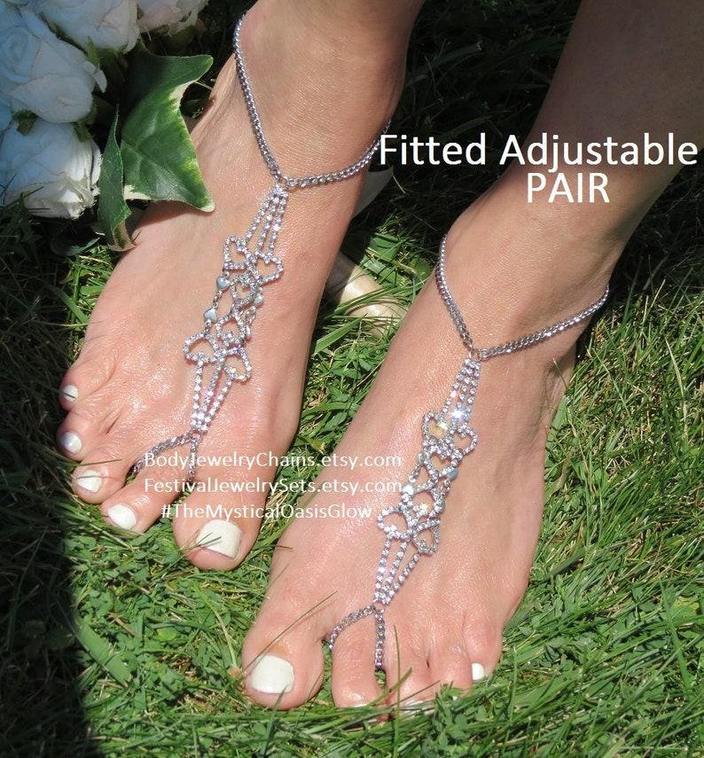 fc71080749073 Sparklefoot Barefoot Sandals Rhinestone Jewelry Foot Chain Anklet Toe Ring,  Diamond, Crystal, Rhinestones BEACH WEDDING Sandals for feet
