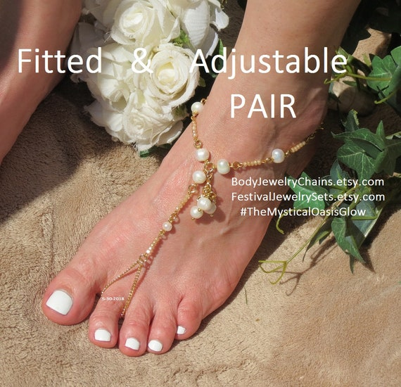 a3093d2e8ae22 Gold barefoot sandals, wedding freshwater pearl jewelry, Ivory wedding  sandals, foot jewelry, beach wedding, Crystal Champagne beaded anklet