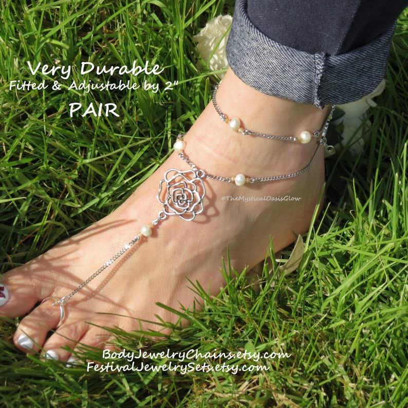 e4dce0adc95d3 Beach barefoot sandals, wedding foot jewelry accessories w pearls roses  slave anklets toe ring ankle bracelet chain barefoot rosary BEACH