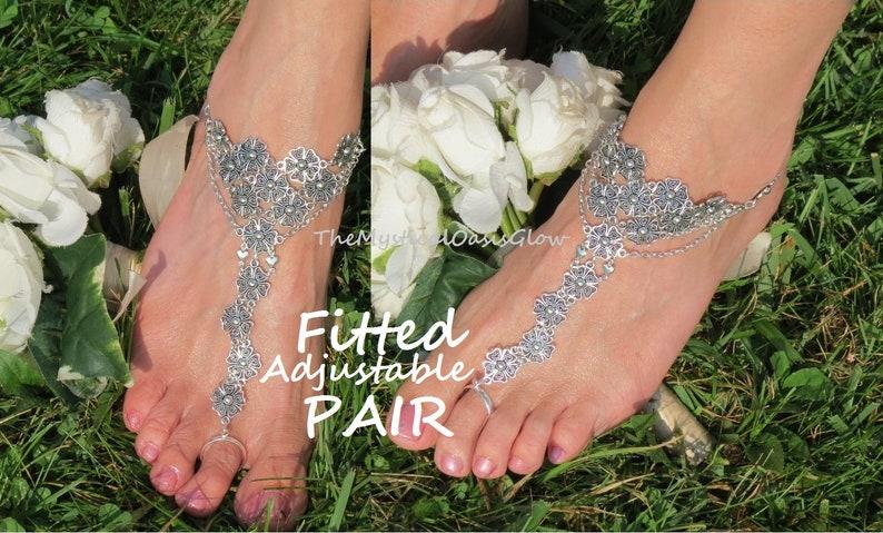 807416b263e2b Barefoot Wedding Sandals, barefoot sandals boho toe ring sandals BEACH  WEDDING shoes foot jewelry ankle bracelet toe ring body chain jewelry