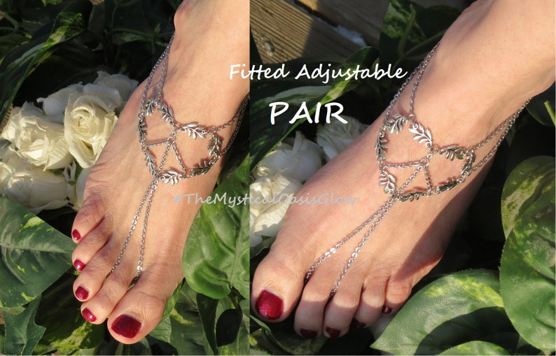 930db581dd56d Leaf Hippie shoes Barefoot sandals boho foot jewelry, Peace and Love Heart  in Vines, Stainless Steel slave chain anklet toe ring wedding
