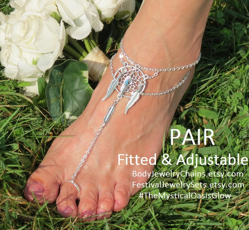 9ecf807561ce0 Silver feather barefoot sandals dream catcher anklets, slave anklet foot  jewelry, Tribal unity foot sandal, ethnic beach wedding boho bling