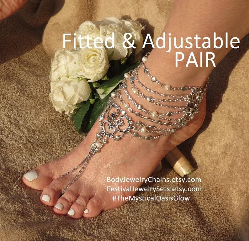 7f41283fdfdc7 Gladiator Barefoot Sandals Greek Jewelry foot Sandal Pearls Wedding  Bracelets for Ankle Bracelet toe ring Anklets for BEACH WEDDING foot