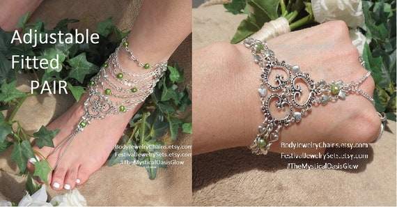 a lifes's Set of Wedding shoes barefoot Chain Beach sandals jewelry barefoot wedding beach Emerald bracelet Slave Jewelry 3 and bracelet ZB6zWq8