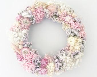 Full Pink dried wild flower Wreath