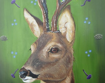 Deer Totem, wildlife portrait, animal, oil painting