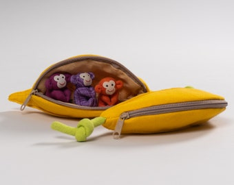 CUTE Monkeys in a Banana Zip Pouch / Purse - Handmade & Unique Gift - Toy - Home Decoration