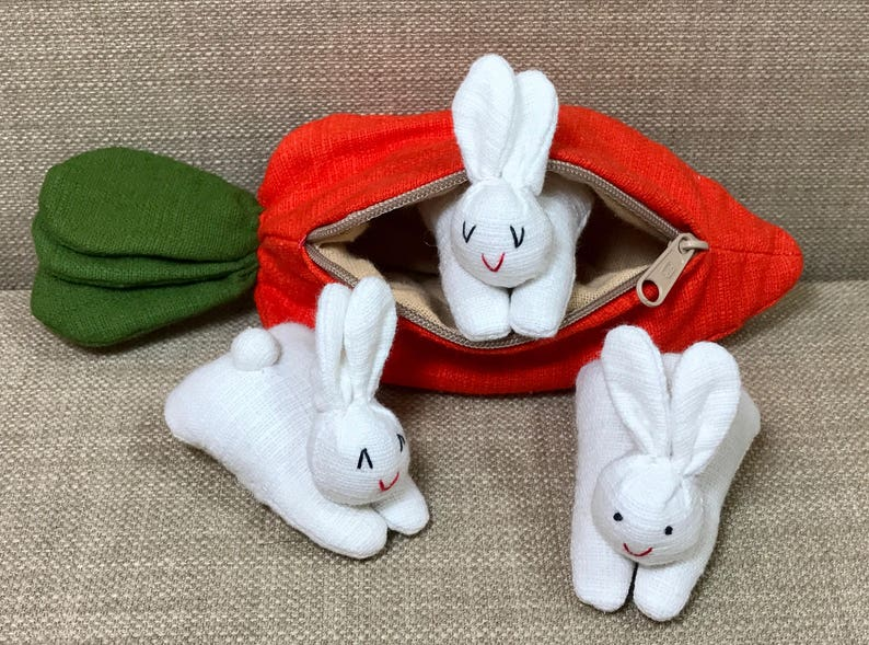 CUTE Handmade Rabbits in a Carrot / Bunnies in a Carrot Toy