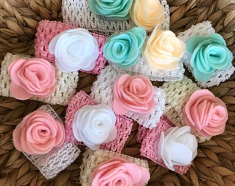 Summer felt flower headbands for infants and toddlers