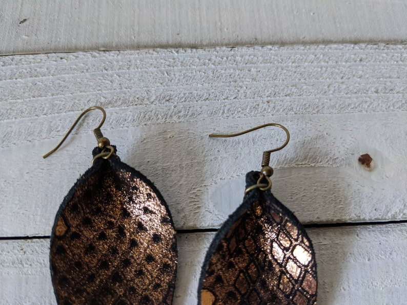 small saratoga petal earrings black leather embossed with rose gold metallic python print SS115 small leather feather earrings