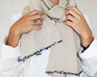 linen scarve with stones embroideries made in france