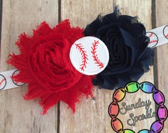 Twins Baseball Headband, Baby Baseball Headband, Shabby Headband, Red and Navy baseball headband, Baseball Flower Headband