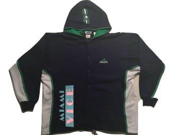 Adidas Sweatshirt Hoodie Vintage Miami Vice 90s - Sz L-xl (1)