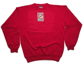 Taz Mania Devil Sweatshirt Six Flags Vintage 90s London - Sz L -1-