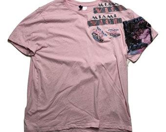 Retro Miami Vice T shirt Pink 80s TV show - Sz Men XL
