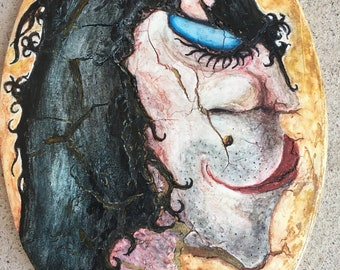 Original Mixed Media Painting by Tazz What a Drag! Oval Canvas 5 X 7.