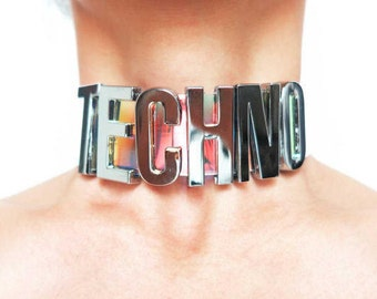 Custom Letter Choker - Oversize Choker - PVC Choker - Iridescent Custom Holographic Choker - Collar choker - Words Choker - Techno Choker
