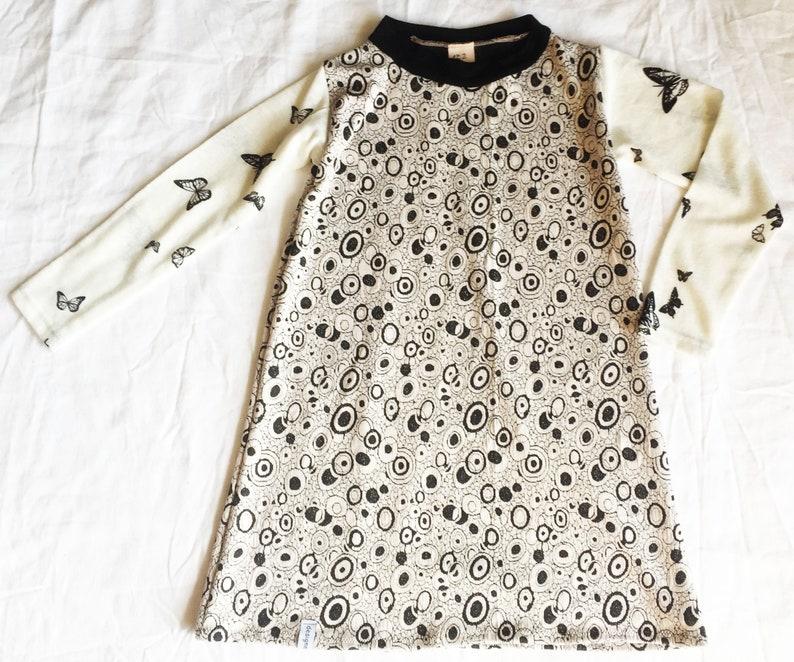 Jacquard Knit Dress Stretch Dress Birthday Wool Dress Knitted Dress Long Sleeve Beige Black Circles Dots Animals Butterflies 122 128