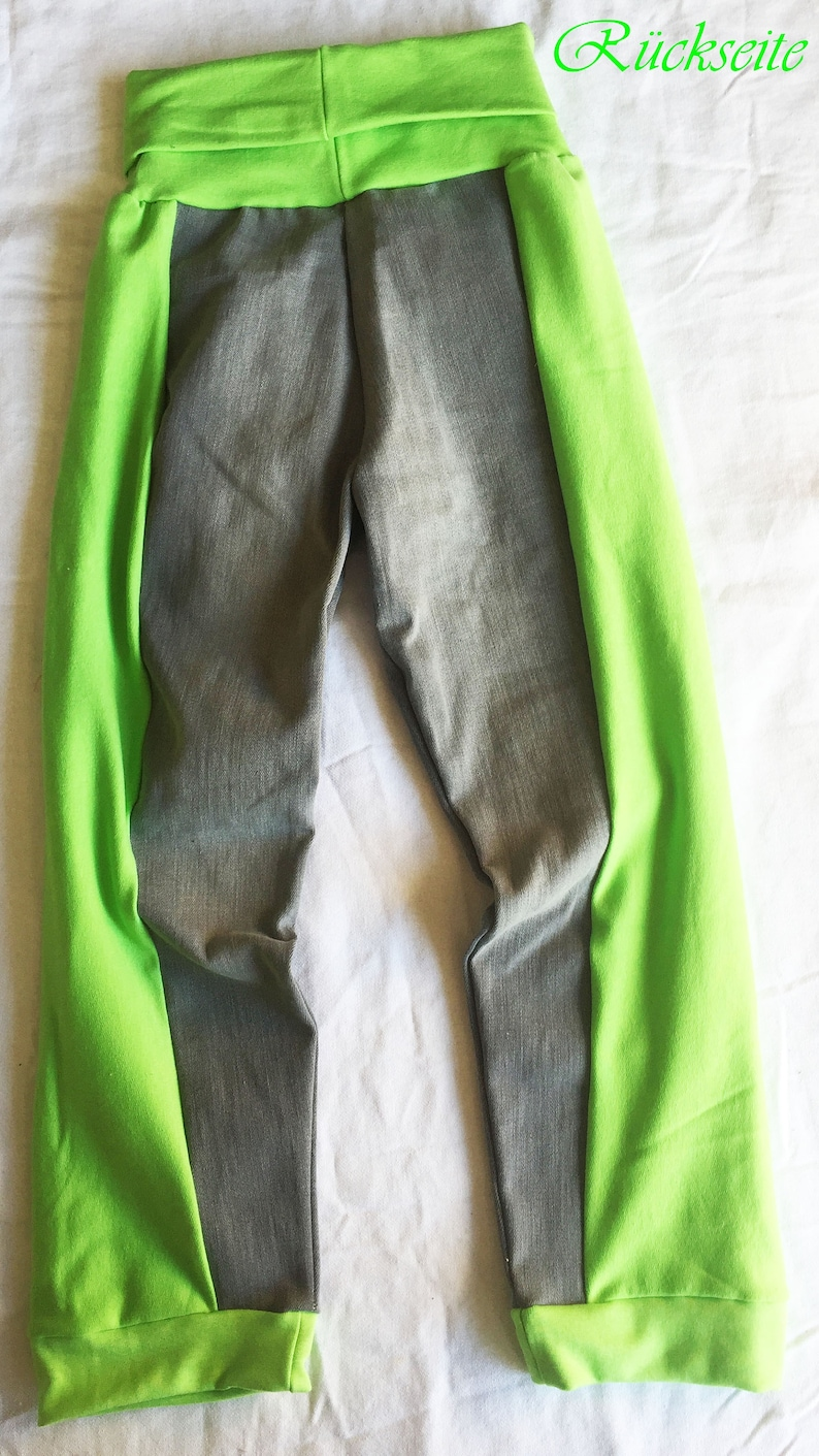Gray Neon Green Jeans Pants Cotton Trousers Patchwork Denim Size 128-134