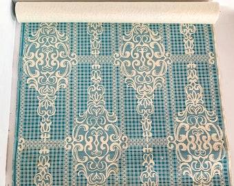 made in USSR Scrapbooking Material for needlework Soviet vintage 1990s Light blue soviet Retro Wallpaper by the Yard Vintage Wallpaper