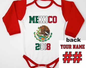 54687afd9 Mexico Baby Football Bodysuit   Newborn Soccer One Piece   Mexico Kids  Custom Jersey   Kids Football Jersey Name and Number