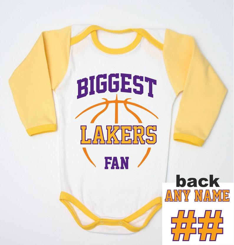 b87b94e1cb47 Lakers Custom Jersey   Basketball Baby Bodysuit   Newborn