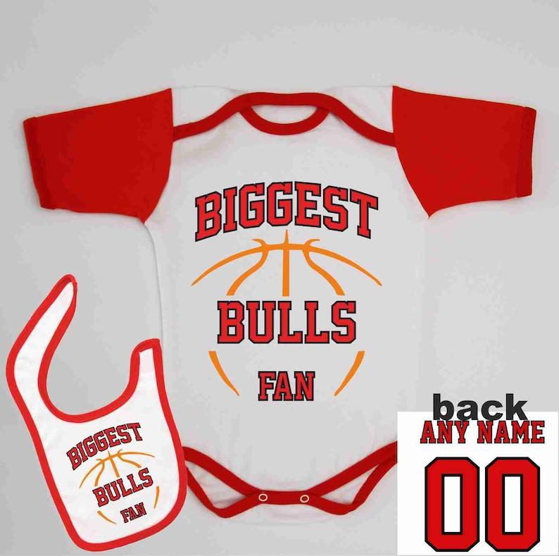8491d0e9e Bulls Baby Summer Bodysuit Custom Name and Number Infant