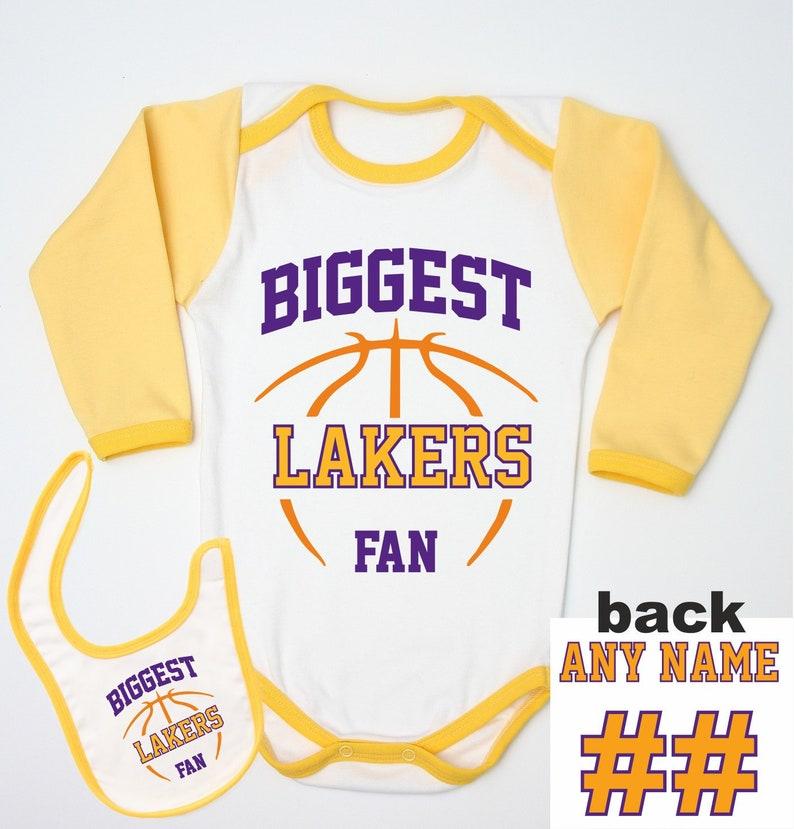 d4136c97e22 Lakers Custom Jersey   Basketball Baby Bodysuit   Newborn