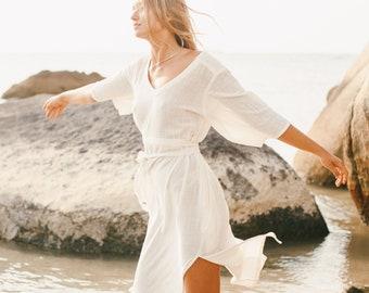 Simple Boho Wedding Dress Off White Organic Cotton Dress Wide Sleeves ⋗ Goddess Dress ⋗ Summer White Dress ⋗ Sustainable Clothing Natural