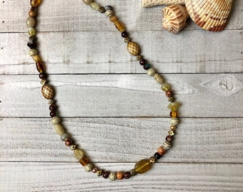 Bohemian Neutral Brown / Tan mixed beaded Necklace