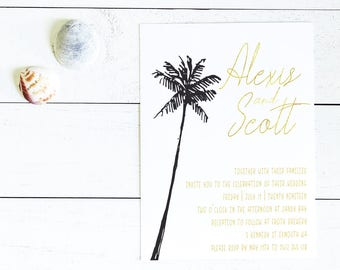 Tropical Palm Wedding Invite