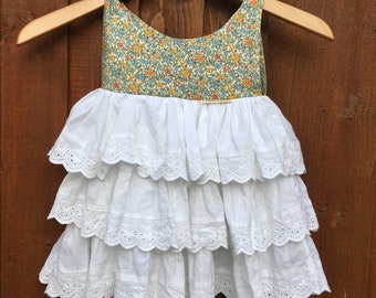 Baby toddler shoulder tie summer dress size 1-2 years Liberty fabric reclaimed fabric