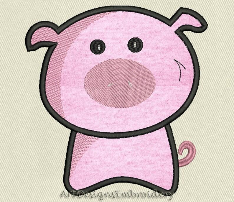Pig applique design, applique embroidery, machine embroidery design,  applique piggy, piggy applique embroidery design, applique for kids