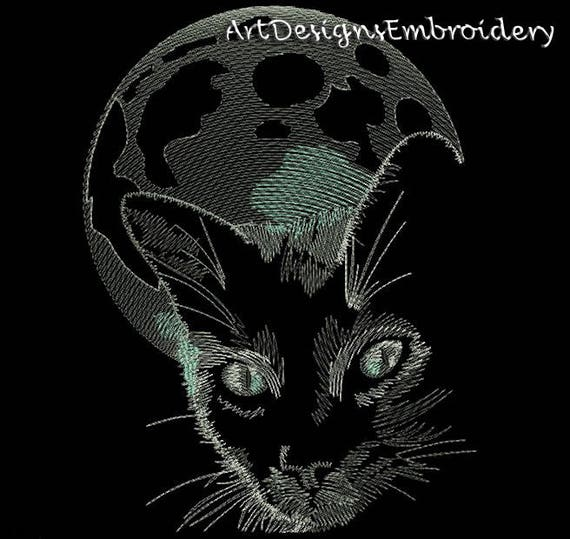 Moon Cat Embroidery Embroidery Designs Machine Embroidery Etsy
