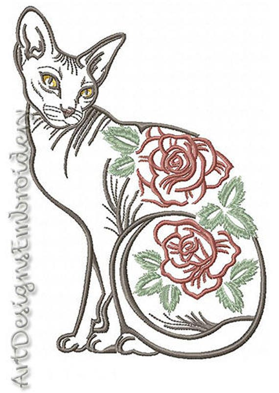 Cat Sphinx With Flowers Machine Embroidery Cat Design Cat Etsy